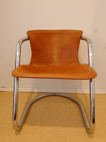 Italian Brown Leather Dining Chairs by Willy Rizzo, 1970s, Set of 4 for  sale at Pamono