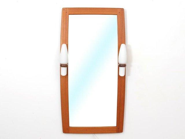 mid century modern spiegel mit teakholz rahmen opalglas. Black Bedroom Furniture Sets. Home Design Ideas