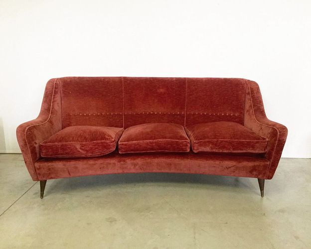 Italian Velvet Wood And Brass Sofa By Paolo Buffa 1960s For Sale At Pamono