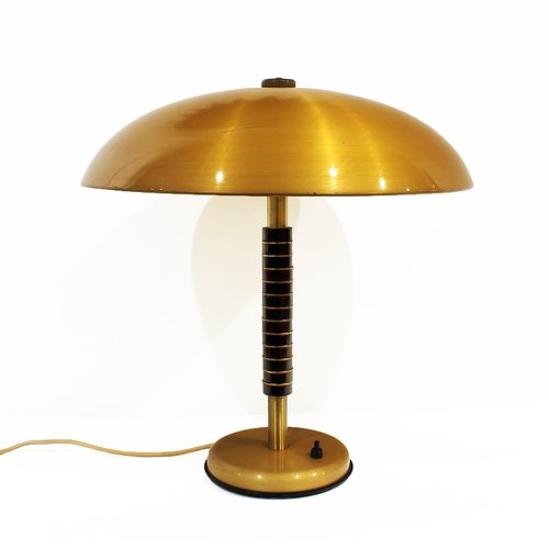 vintage brass wood table lamp 1960s for sale at pamono. Black Bedroom Furniture Sets. Home Design Ideas