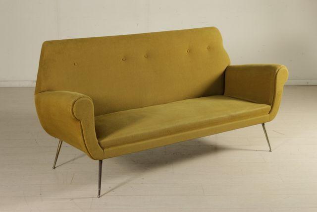 vintage sofa aus schaumstoff gewebe vermessingtem. Black Bedroom Furniture Sets. Home Design Ideas