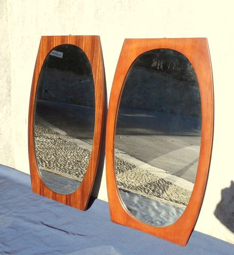 gro e spiegel mit rahmen aus teak 1960er 2er set bei. Black Bedroom Furniture Sets. Home Design Ideas