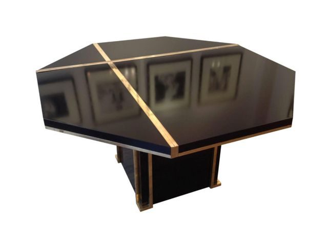 lacquered brass dining table by jc mahey for roche bobois. Black Bedroom Furniture Sets. Home Design Ideas