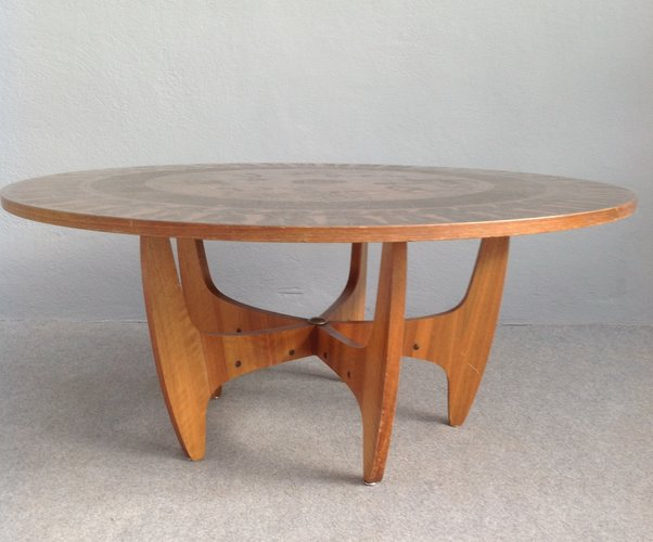 Round Copper Top Coffee Table, 1960s For Sale At Pamono