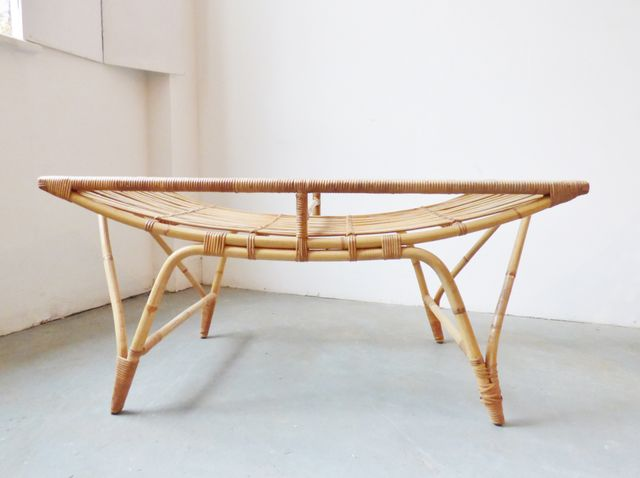 Vintage danish bamboo coffee table with glass top for sale at pamono - Table basse style vintage ...