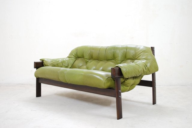 Model Mp 041 Green Leather Sofa From Percival Lafer, 1961 For Sale