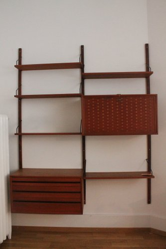 italian modular shelving modular teak wall shelf by poul cadovius for cado for sale at pamono