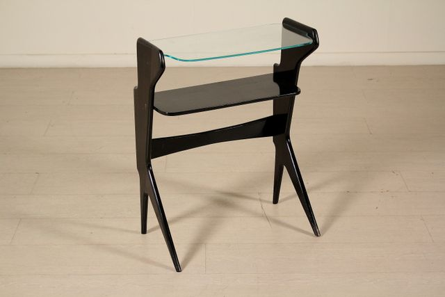Vintage Italian Ebony Stained Wood and Glass Console, 1950s for ...