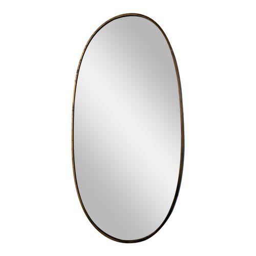 Mid Century Italian Oval Brass Mirror For Sale At Pamono