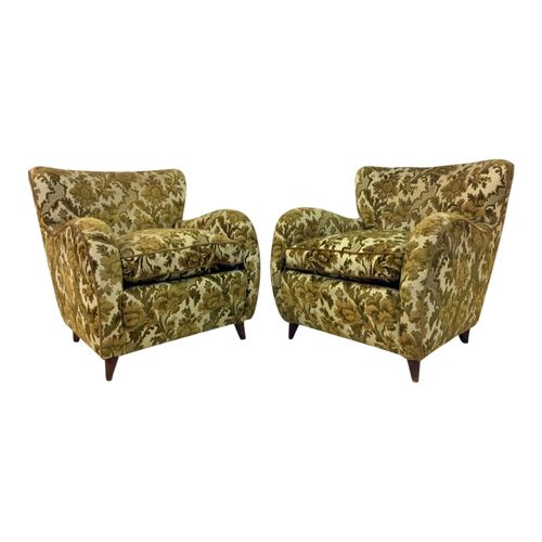 italienische gr ne florale mid century sessel 2er set bei. Black Bedroom Furniture Sets. Home Design Ideas