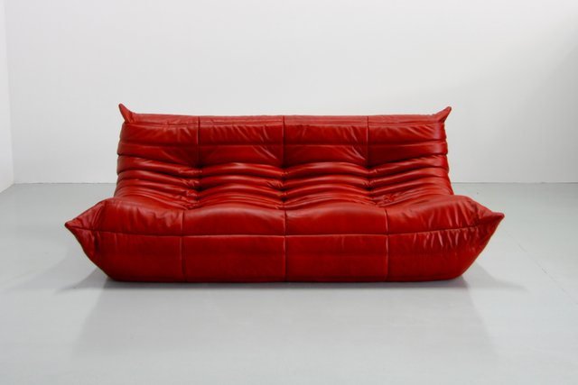 Vintage Red Leather Togo Sofa By Michel Ducaroy For Ligne