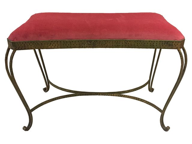 Mid Century Iron And Red Upholstered Bench 1950s For Sale
