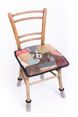 Antique Wooden Chair With Patchwork Mosaic By Yukiko Nagai 2013 For Sale At