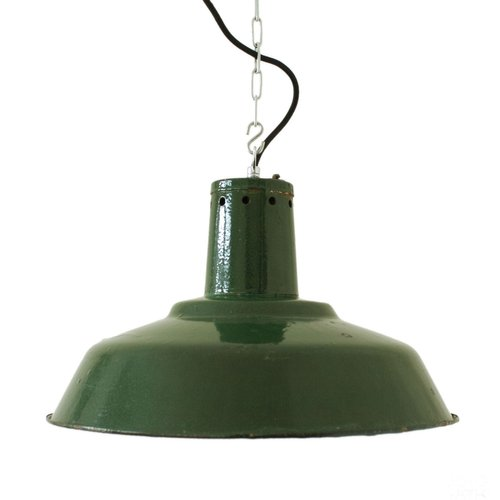 lampada vintage industriale verde scuro con catena in. Black Bedroom Furniture Sets. Home Design Ideas
