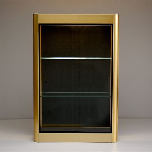 Gold wall display cabinet with sliding glass doors 1970s for Sliding glass doors for sale