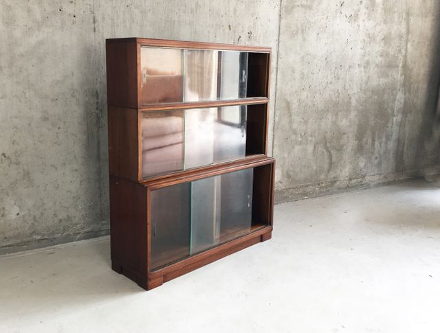 3 tier bookcase with sliding glass doors from minty 1960s for Sliding glass doors for sale