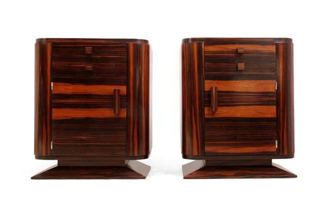 Art deco macassar ebony bedside cabinets 1930s set of 2 for 1930s kitchen cabinets for sale