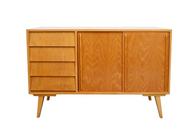 eschenholz sideboard mit schiebet ren 1950er bei pamono kaufen. Black Bedroom Furniture Sets. Home Design Ideas