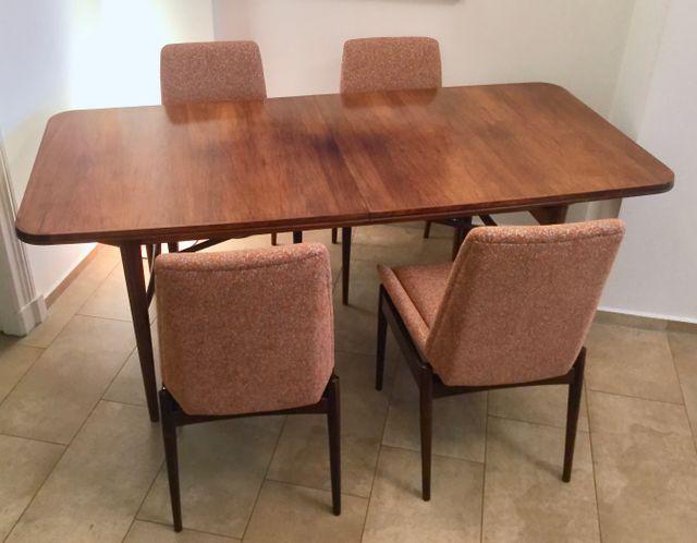 britischer ausziehbarer rosenholz esstisch 8 st hle hamilton f r archie shine 1960er bei. Black Bedroom Furniture Sets. Home Design Ideas