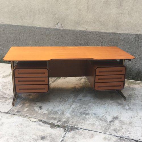 italienischer vintage schreibtisch aus holz metall bei. Black Bedroom Furniture Sets. Home Design Ideas
