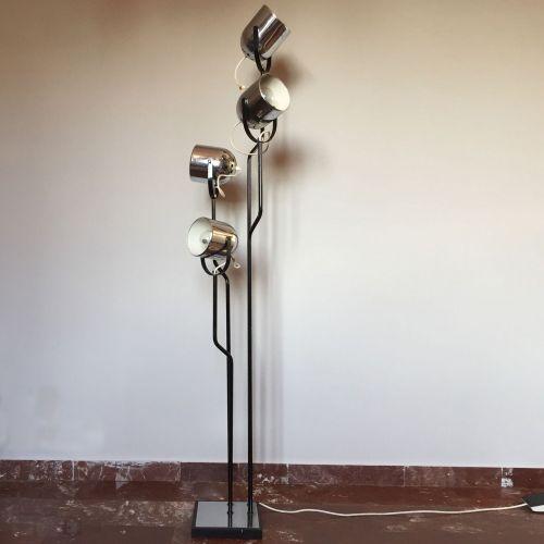 4 light chrome and black floor lamp by goffredo reggiani for Mayer floor lamp black chrome