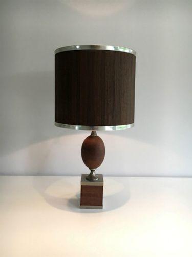 Wood and brushed steel table lamp 1970s en venta en pamono aloadofball Image collections