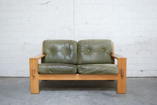 Vintage Bonanza Green Leather Sofa By Esko Pajamies For Asko For