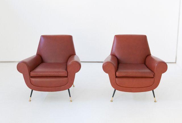 Italienische Sessel Aus Kunstleder Von Gigi Radice F R Minotti 1950er 2er Set Bei Pamono Kaufen