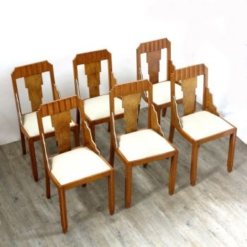 French Art Deco Style Chairs, Set Of 6, 1930s 1
