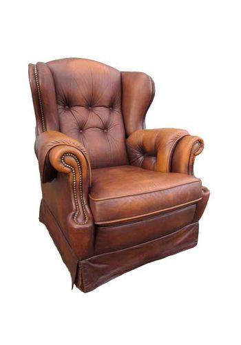 brauner vintage leder ohrensessel bei pamono kaufen. Black Bedroom Furniture Sets. Home Design Ideas