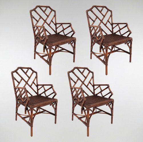 English Wood And Rattan Armchairs Set Of 4 For Sale At Pamono