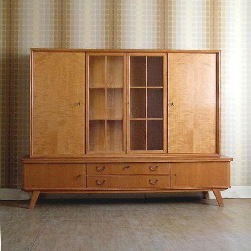 Vintage buffet with glass cabinet 1950s for sale at pamono for 1950 kitchen cabinets for sale