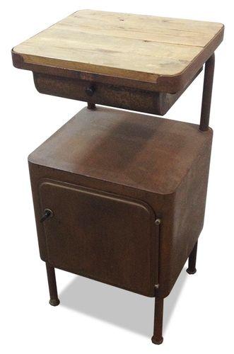 Vintage metall und eiche nachttisch bei pamono kaufen - Table de nuit transparente ...