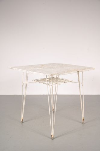 White perforated metal dining table 1950s for sale at pamono for White metal dining table