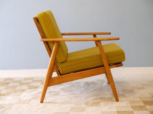fauteuil jaune moutarde en h tre danemark 1960s en vente sur pamono. Black Bedroom Furniture Sets. Home Design Ideas