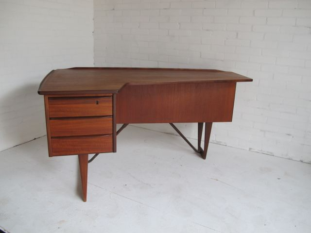 Boomerang Teak Desk By Peter Lovig Nielsen 1950s For Sale