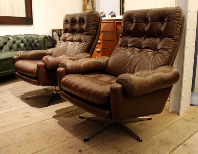 Leather Club Chairs Set Of 2 For Sale At Pamono