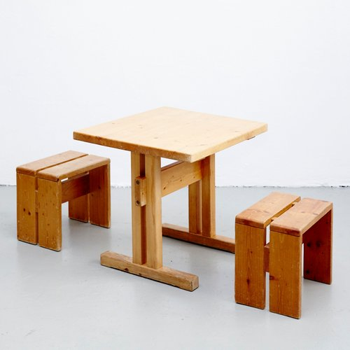 French Table And Stools By Charlotte Perriand For Les Arcs