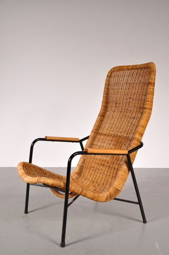 fauteuil avec haut dossier en osier par gebr jonkers 1950s en vente sur pamono