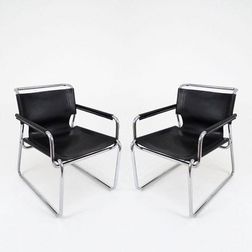 verchromte vintage metall und leder armlehnst hle 2er set. Black Bedroom Furniture Sets. Home Design Ideas