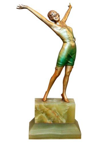 Cabaret Art Deco Bronze Statue By Josef Lorenzl, 1930S For Sale At