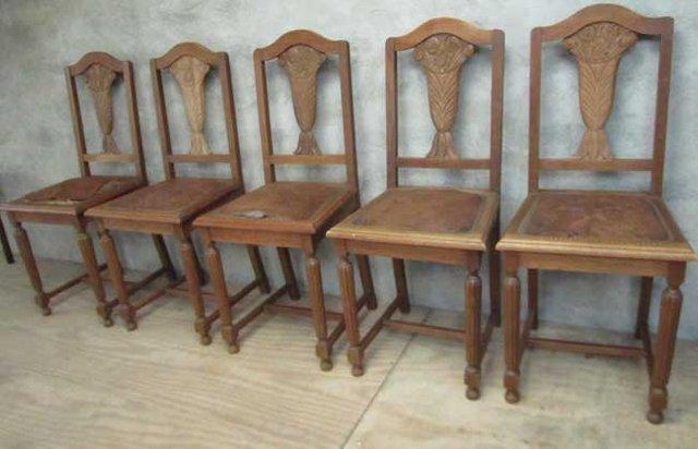 belgische art d co st hle 1930er 5er set bei pamono kaufen. Black Bedroom Furniture Sets. Home Design Ideas