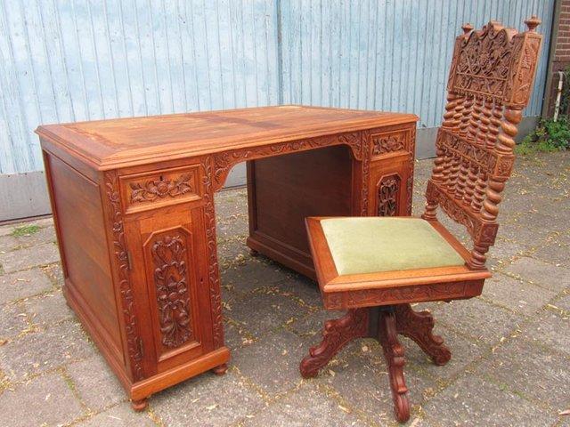 geschnitzter kolonialstil schreibtisch und stuhl bei pamono kaufen. Black Bedroom Furniture Sets. Home Design Ideas