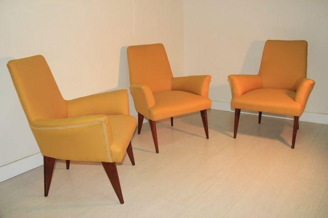 mid century gelber sessel aus italien 1950er bei pamono kaufen. Black Bedroom Furniture Sets. Home Design Ideas