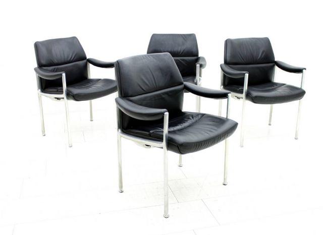 konferenz sessel aus leder aluminium 4er set bei pamono. Black Bedroom Furniture Sets. Home Design Ideas