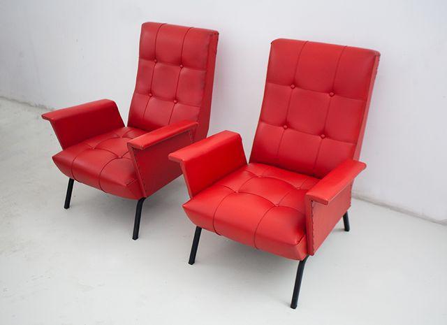 Rote vintage italienisch ledersessel 1950er 2er set bei for Sofa italienisch