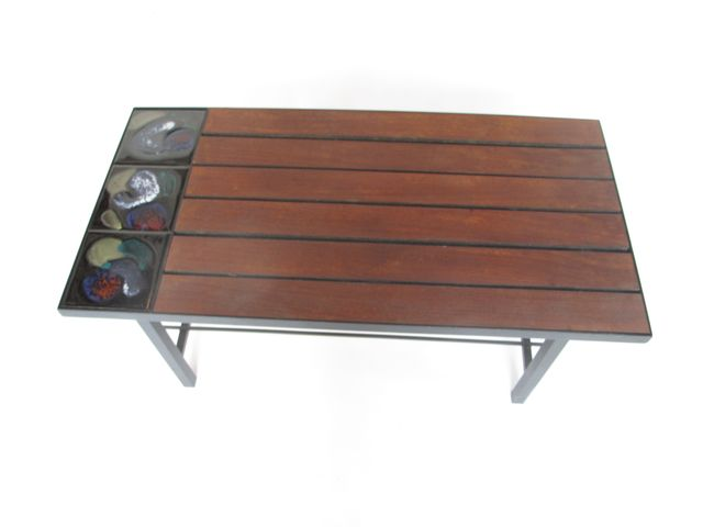 Coffee Table in Wood with Ceramic Tiles, 1960s for sale at Pamono -> Table Basse Relevable Woods
