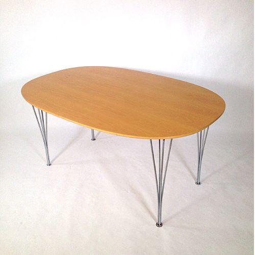 birkenholz esstisch von piet hein und bruno mathsson f r fritz hansen bei pamono kaufen. Black Bedroom Furniture Sets. Home Design Ideas