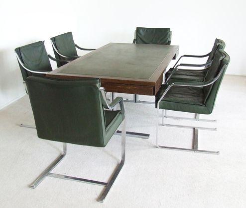 set konferenztisch und sechs st hle von walter knoll bei. Black Bedroom Furniture Sets. Home Design Ideas