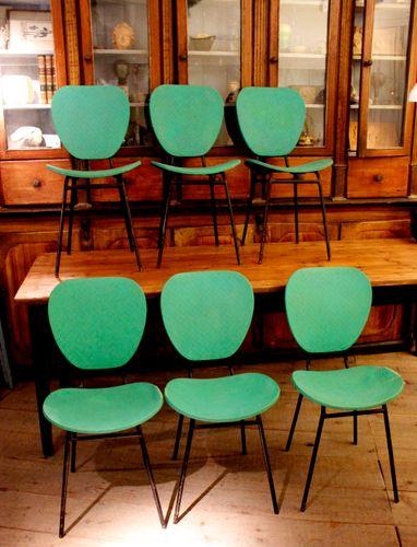 t rkise vintage st hle 1950er 6er set bei pamono kaufen. Black Bedroom Furniture Sets. Home Design Ideas